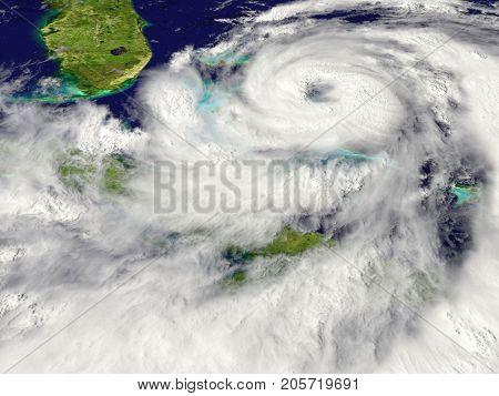 A huge hurricane approaching Florida in America.