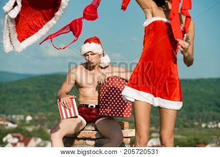 Christmas Man And Woman Family Outdoor.