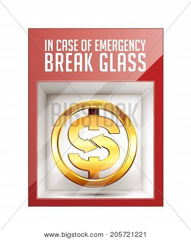 In case of emergency break glass - dollar sign concept- stock illustration
