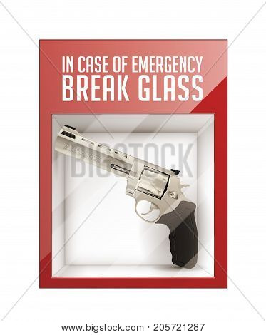 In case of emergency break glass - revolver concept- stock illustration