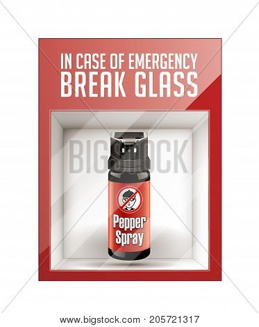 In case of emergency break glass - self defence concept- stock illustration