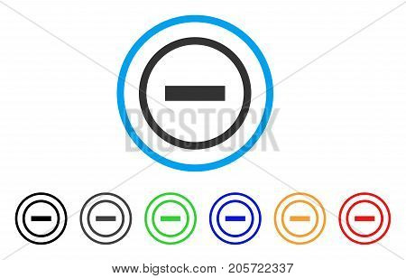 Delete rounded icon. Style is a flat delete grey symbol inside light blue circle with black, gray, green, blue, red, orange color versions. Vector designed for web and software interfaces.