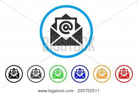 Email rounded icon. Style is a flat email gray symbol inside light blue circle with black, gray, green, blue, red, orange versions. Vector designed for web and software interfaces.