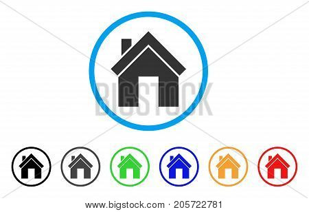 Home rounded icon. Style is a flat home grey symbol inside light blue circle with black, gray, green, blue, red, orange color versions. Vector designed for web and software interfaces.