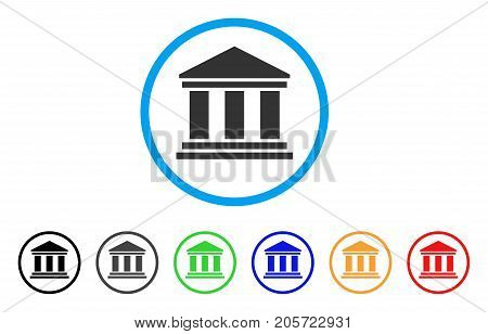 Library Building rounded icon. Style is a flat library building gray symbol inside light blue circle with black, gray, green, blue, red, orange versions.