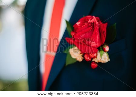 Groom Boutonniere On The Lapel
