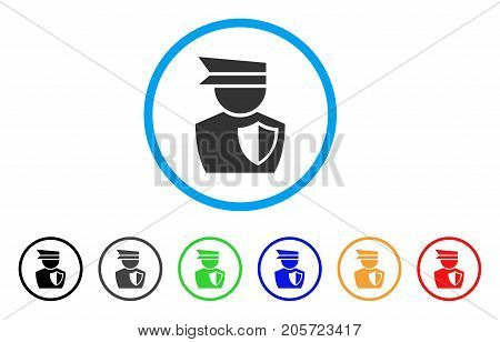 Police Officer rounded icon. Style is a flat police officer gray symbol inside light blue circle with black, gray, green, blue, red, orange versions. Vector designed for web and software interfaces.