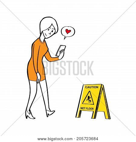 a Woman using smartphone and walking straight to caution wet floor sign Using smartphone by safety concept.