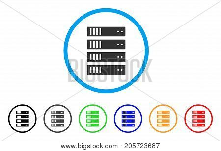 Server rounded icon. Style is a flat server gray symbol inside light blue circle with black, gray, green, blue, red, orange color versions. Vector designed for web and software interfaces.