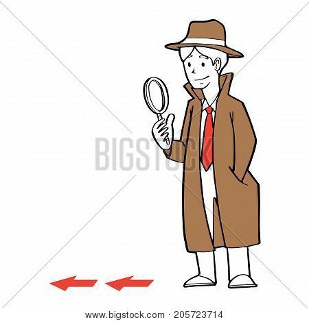 a businessman as detective holding a magnification glass searching clue business problem concept.