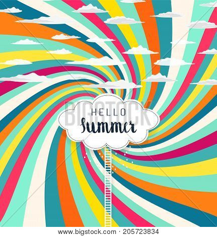 Bright Summer Colorful Striped Concentric Radiant Background With Clouds