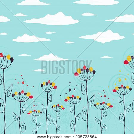 Cute summer foral design seamless strip with flowers and clouds