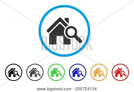 Explore House rounded icon. Style is a flat explore house grey symbol inside light blue circle with black, gray, green, blue, red, orange color versions.