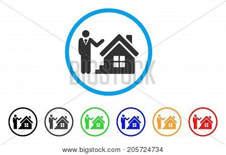 Realty Agent rounded icon. Style is a flat realty agent grey symbol inside light blue circle with black, gray, green, blue, red, orange color versions. Vector designed for web and software interfaces.