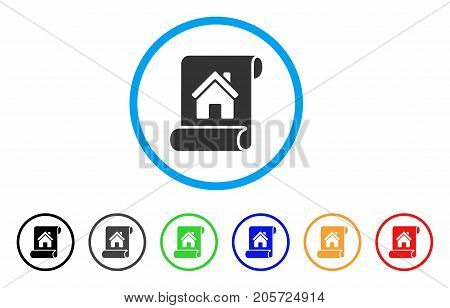 Realty Description Roll rounded icon. Style is a flat realty description roll grey symbol inside light blue circle with black, gray, green, blue, red, orange variants.