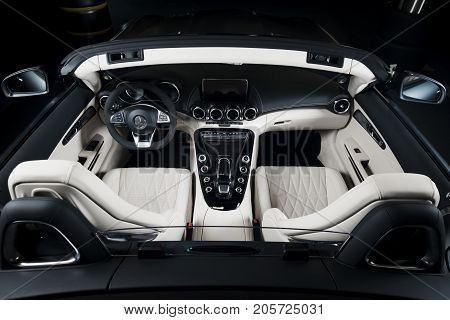 Sankt-Petersburg, Russia, September 11, 2017 : Mercedes-Benz GT-C white leather interior cabriolet, test drive on September 11 2017 in Russia, Sankt-Petersburg.