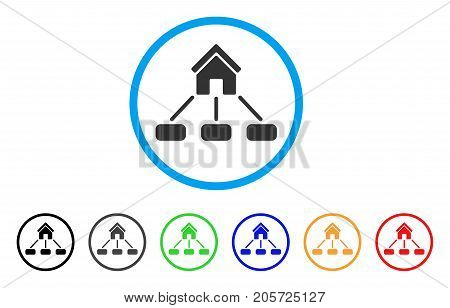 Realty Links rounded icon. Style is a flat realty links grey symbol inside light blue circle with black, gray, green, blue, red, orange variants. Vector designed for web and software interfaces.