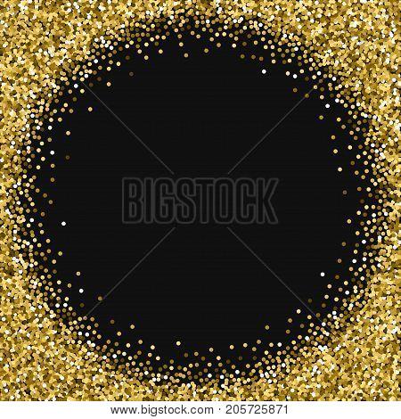 Round Gold Glitter. Corner Frame With Round Gold Glitter On Black Background. Glamorous Vector Illus