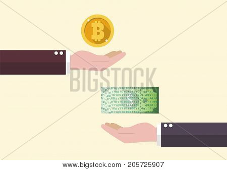 Exchange between Bitcoin and cash money. Concept of Cashless society
