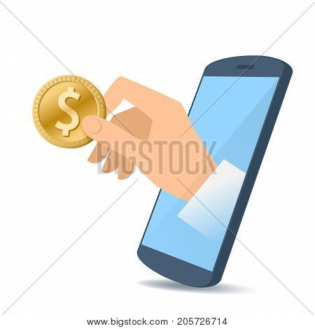 A human hand from the mobile phone screen holding a dollar coin. Money, banking, online payment, buying, electronic business concept. Flat illustration of hand, phone, dollar. Vector material design.