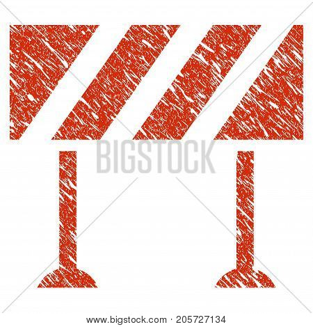Grunge Barrier rubber seal stamp watermark. Icon barrier symbol with grunge design and dust texture. Unclean vector red emblem.