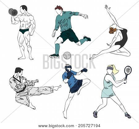 Vector illustration of a set of six sports
