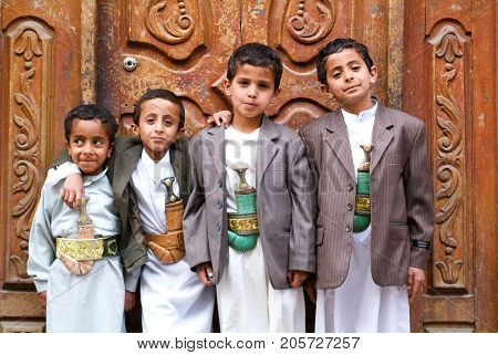 Sana Yemen - 18 January 2008: group of boys with traditional clothes at Sana on Yemen