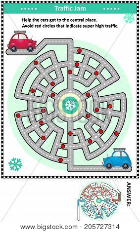 Winter traffic jam road maze game: Help the red car and the blue car get to the central place. Avoid red circles that indicate super high traffic. Answers included.