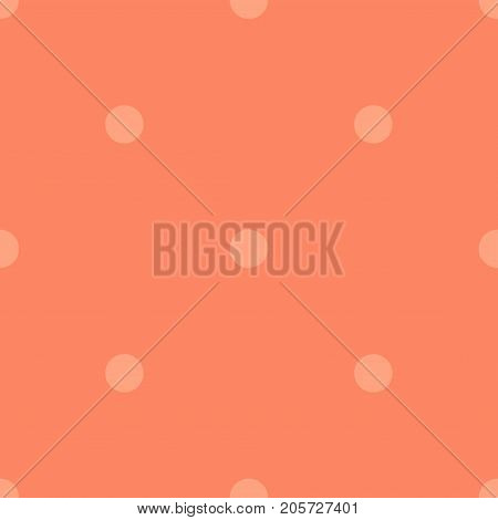 Light Polka Dots Seamless Pattern On Coral Background. Ideal Classic Light Polka Dots Textile Patter