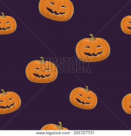Seamless Pattern of Carved Grinning Scary Halloween Pumpkin, Jack-o-Lantern, Vector Illustration