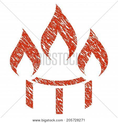 Grunge Burner Nozzle Fire rubber seal stamp watermark. Icon burner nozzle fire symbol with grunge design and unclean texture. Unclean vector red sticker.
