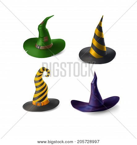 Different witch and wizard, s hats isolated on white background. Halloween vector illustration. Different color variants