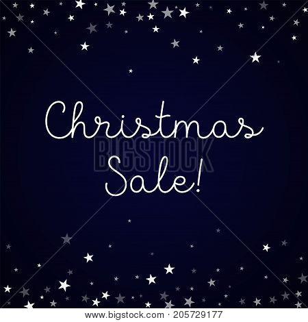 Christmas Sale Greeting Card. Random Falling Stars Background. Random Falling Stars On Deep Blue Bac