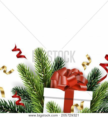 Vector Christmas tree branch with Christmas gift isolated on white. The view from the top. Christmas and new year background with place for your text. Vector template.