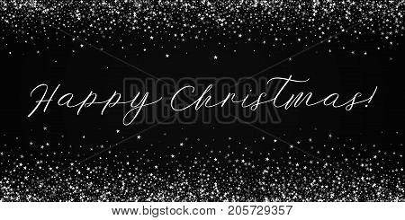 Happy Christmas Greeting Card. Amazing Falling Stars Background. Amazing Falling Stars On Black Back