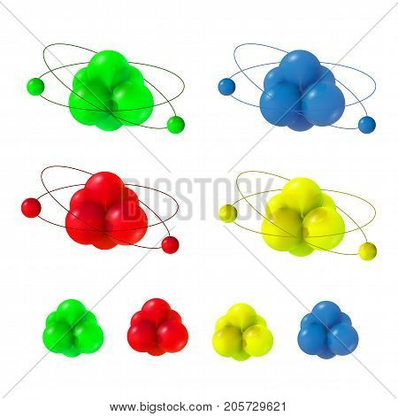 Abstract molecules set. Atoms collection. 3d vector protons neutrons and electrons. Science concept.