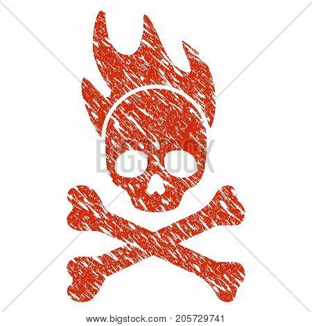 Grunge Death Fire rubber seal stamp watermark. Icon death fire symbol with grunge design and unclean texture. Unclean vector red sticker.