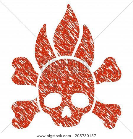 Grunge Death Fire rubber seal stamp watermark. Icon death fire symbol with grunge design and scratched texture. Unclean vector red sticker.