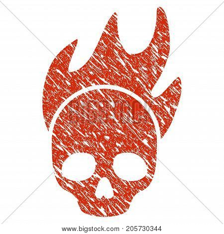 Grunge Death Fire rubber seal stamp watermark. Icon death fire symbol with grunge design and dirty texture. Unclean vector red sign.