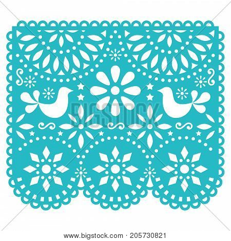 Papel Picado vector template design, Mexican paper decorations with birds and flowers, traditional fiesta banner in turquoise