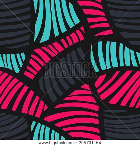 Abstract geometric striped colorful pattern. Seamless vector background. Vector illustration