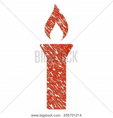 Grunge Fire Torch rubber seal stamp watermark. Icon fire torch symbol with grunge design and dirty texture. Unclean vector red sign.