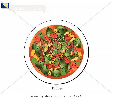 Bosnian Cuisine, Illustration of Djuvec or Traditional Oven Baked Meat and Vegetable Stew. One of The Most Famous Dish of Bosnia and Herzegovina.