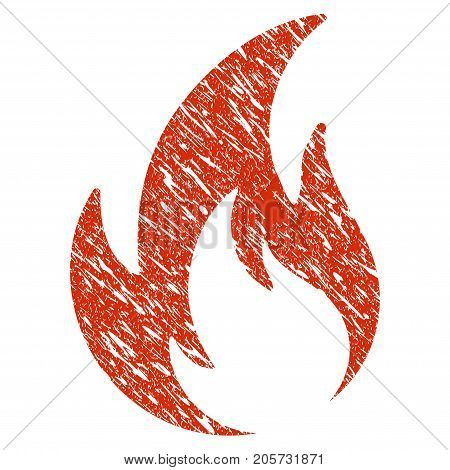 Grunge Flame rubber seal stamp watermark. Icon flame symbol with grunge design and dirty texture. Unclean vector red sticker.