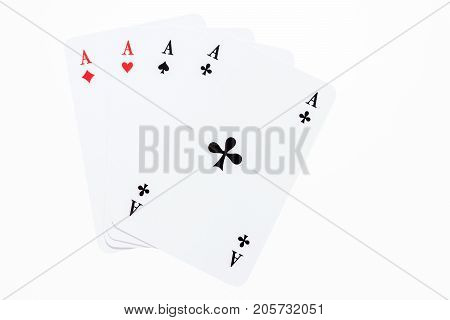 Set of hearts, spades, clubs and diamonds ace playing cards