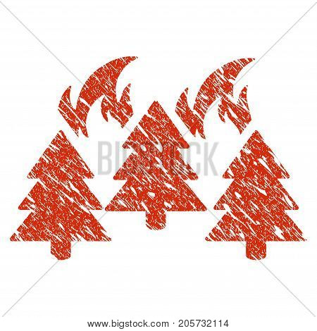 Grunge Forest Fire Disaster rubber seal stamp watermark. Icon forest fire disaster symbol with grunge design and scratched texture. Unclean vector red emblem.