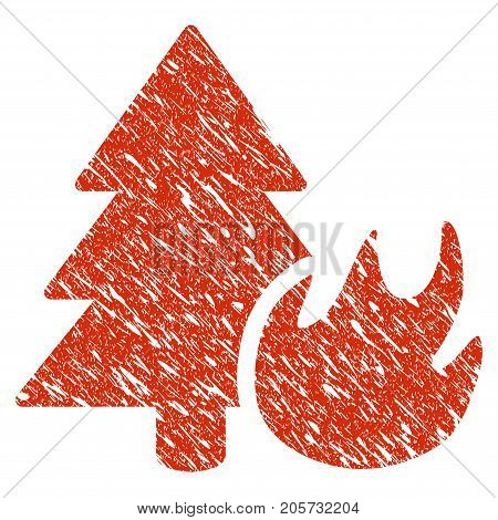 Grunge Forest Fire rubber seal stamp watermark. Icon forest fire symbol with grunge design and dirty texture. Unclean vector red emblem.