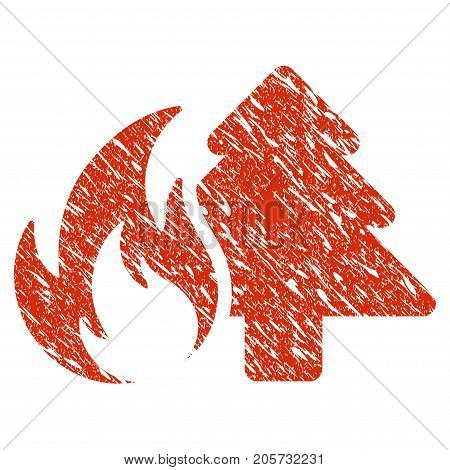 Grunge Forest Fire rubber seal stamp watermark. Icon forest fire symbol with grunge design and scratched texture. Unclean vector red sticker.