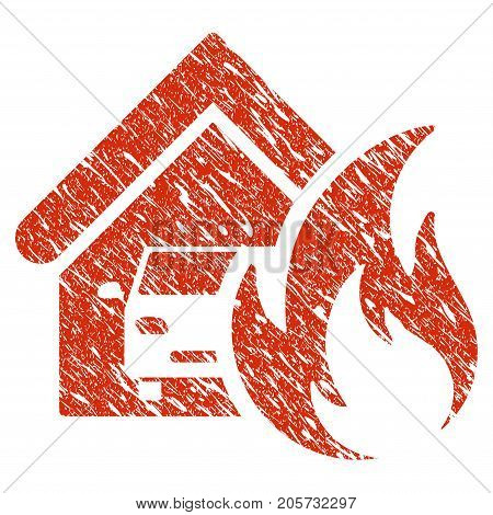 Grunge Garage Fire Disaster rubber seal stamp watermark. Icon garage fire disaster symbol with grunge design and scratched texture. Unclean vector red sticker.
