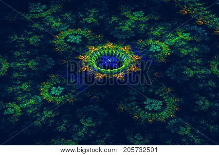 three-dimensional and floral fractal on dark background
